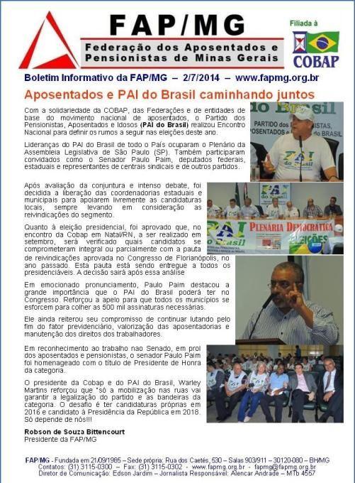 Aposentados e PAI do Brasil unidos - eleições 2014