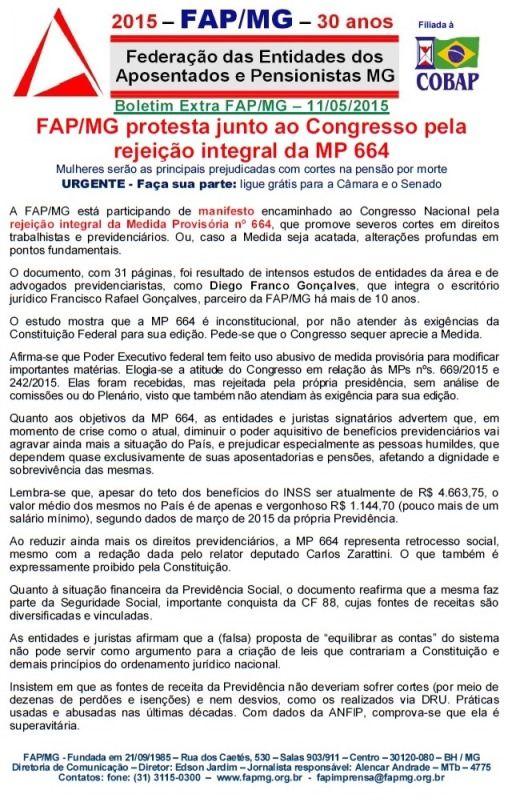 Boletim FAP/MG - Urgente