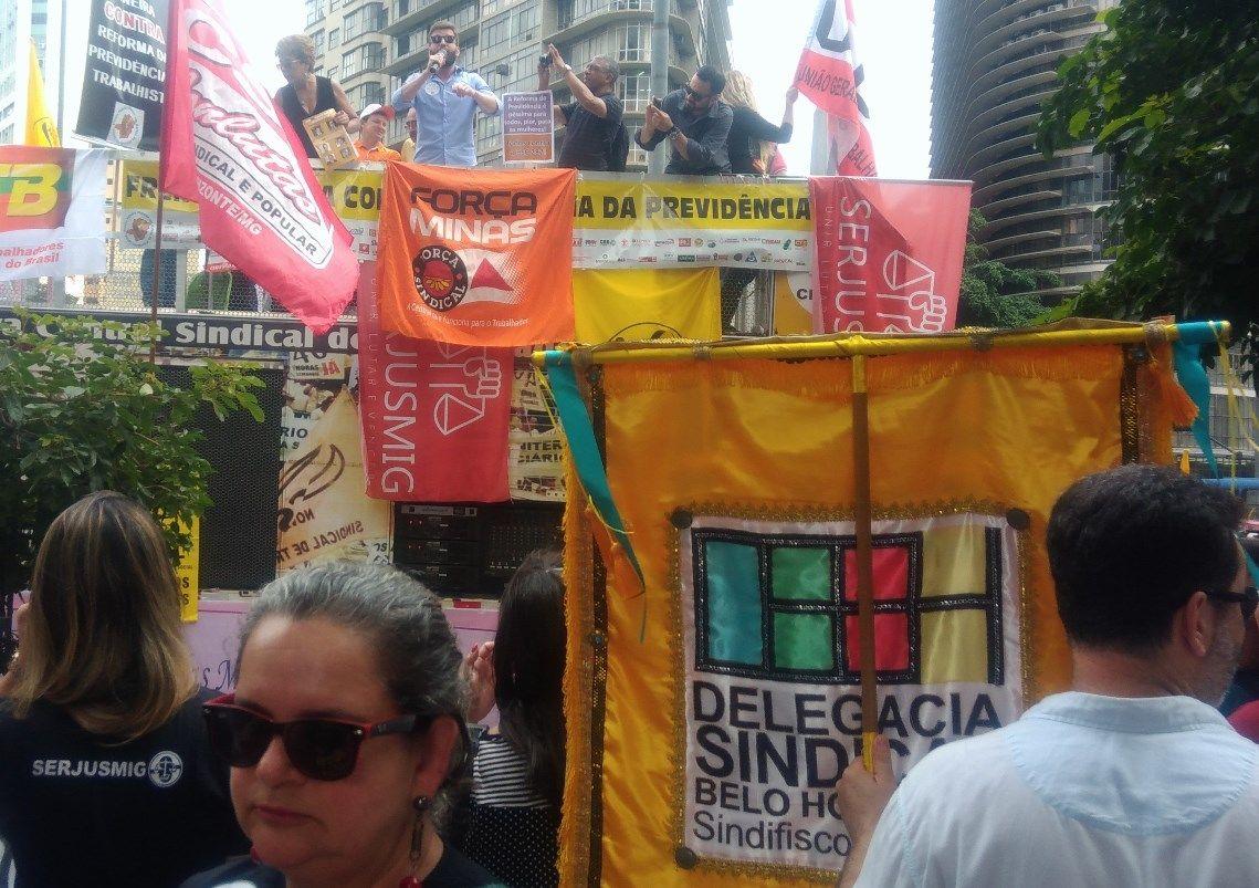 Gabriel, presidente da DSBH do SindiFisco Nacional, falou da indignação dos trabalhadores