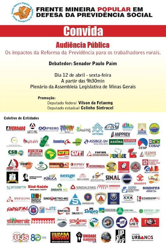 Convite - Frente - Audiência - ALMG - 12-04-2019