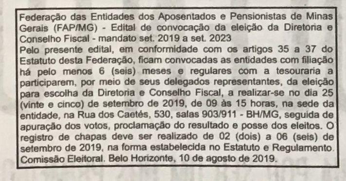 Edital - Eleição FAP-MG 2019