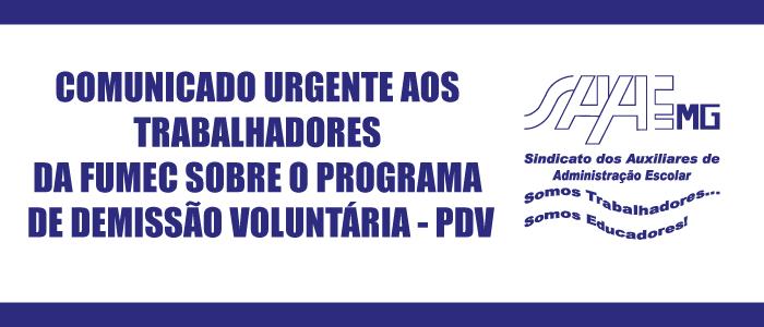 COMUNICADO URGENTE AOS TRABALHADORES DA FUMEC