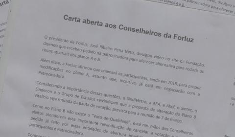 Entidades apresentam carta à Forluz