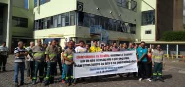 Eletricitários do quadro próprio do Q.14 realizam ato em solidariedade aos terceirizados