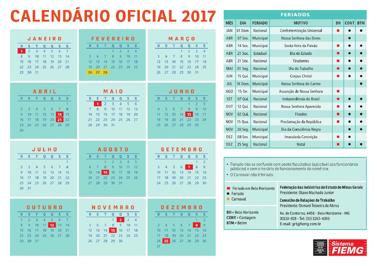 Sitipan - Calendário 2016