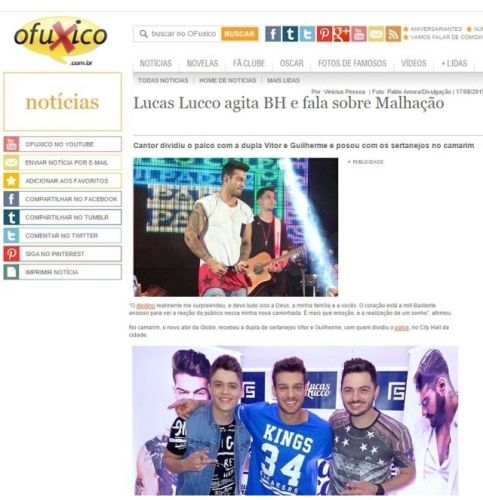 Vitor e Guilherme no site Ofuxico
