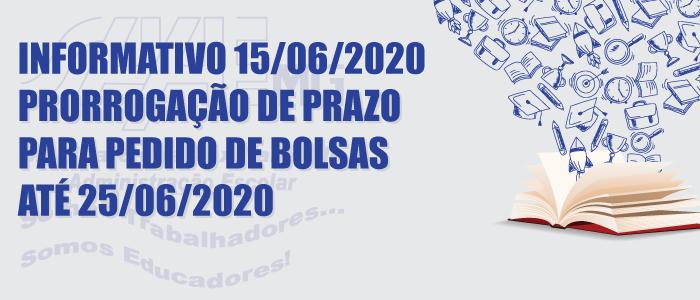 PRORROGAÇÃO DE PRAZO PARA PEDIDO DE BOLSAS DE ESTUDOS ATÉ 25/06/2020