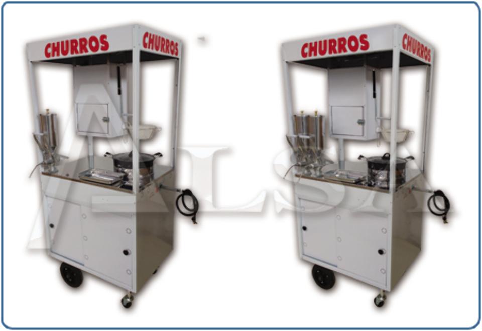 CARRINHO PARA CHURROS - INOX - COM DUAS DOCEIRAS -ALSA