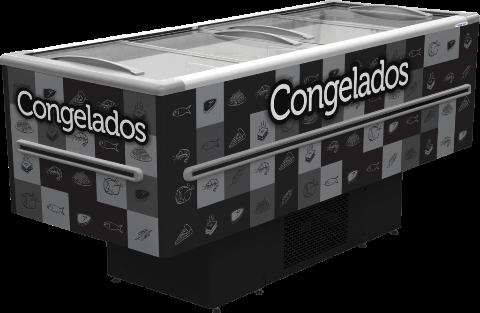 ILHA PARA CONGELADOS - 2.00M - 568 LITROS - ADESIVADA - PRETA - FRICON