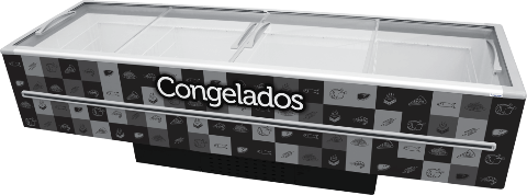 ILHA PARA CONGELADOS - 3,00 M - 1115 LITROS - ADESIVADA - PRETA - FRICON