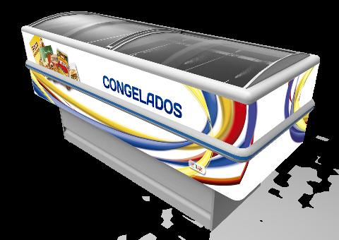 ILHA PARA CONGELADOS - 2,00M - ADESIVADA - VIDRO CURVO - POLAR