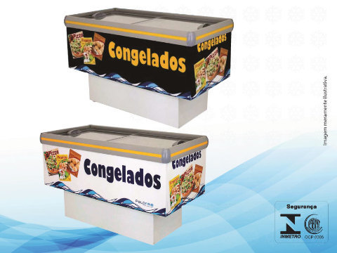 ILHA PARA CONGELADOS - 1,60M - ADESIVADA - PRETA - 432 LITROS - POLO FRIO