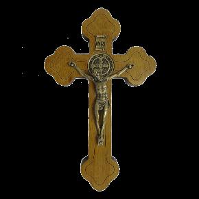 Crucifixo em madeira - parede 12cm Ouro Velho