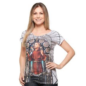 Camiseta feminina São Francisco de Assis