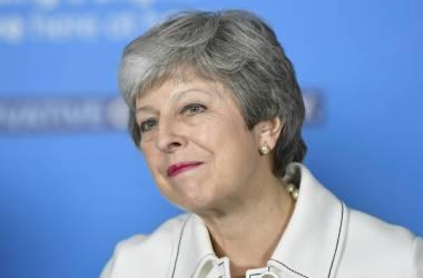 Theresa May durante um ato de campanha em Bristol /TOBY MELVILLE AP