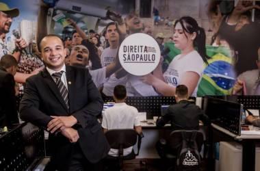 Garcia em seu gabinete na Alesp. / Foto - LELA BELTRÃO