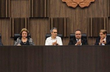 A assinatura do acordo com os municípios aconteceu nesta quinta-feira, na sede do TJMG, na capital mineira / Leonardi/Imprensa MG / Gil Leonardi/Imprensa MG