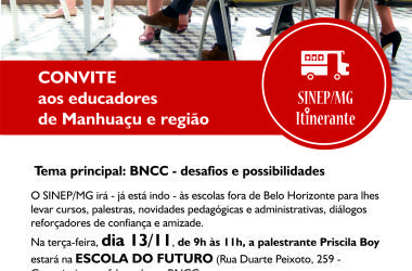 13/11: SINEP/MG Itinerante leva BNCC para Manhuaçu