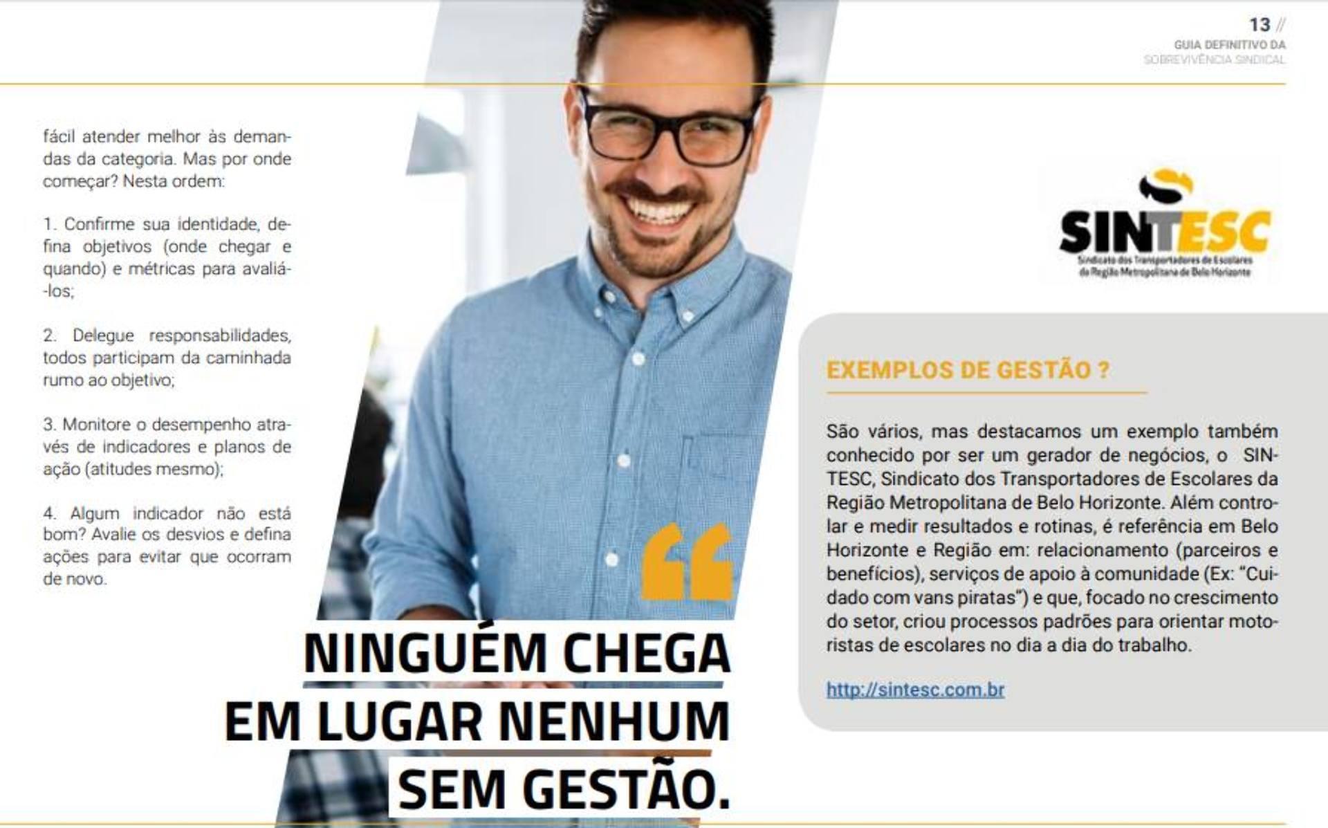 Revista destaca trabalho do SINTESC