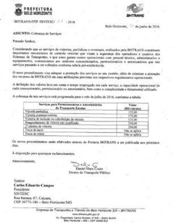 BHTRANS ANUNCIA COBRANÇA DE VISTORIA